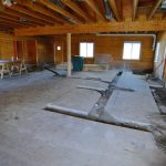 Old concrete floor has been sawn to make room for new plumbing and drainage - 2/2/17