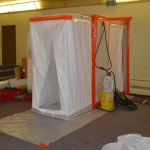 Main Airlock - this entrance to the contaminated area has multiple layers of plastic to keep dirty air in