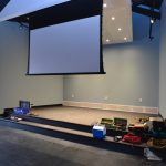 Work ongoing in the stage area including a new projection screen - 8/21/17